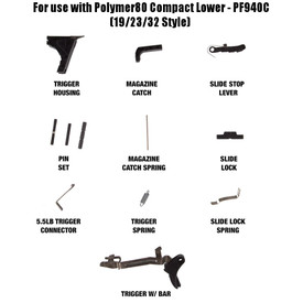 glock factory compact lower parts kit - 19/23/32 - fits polymer80c