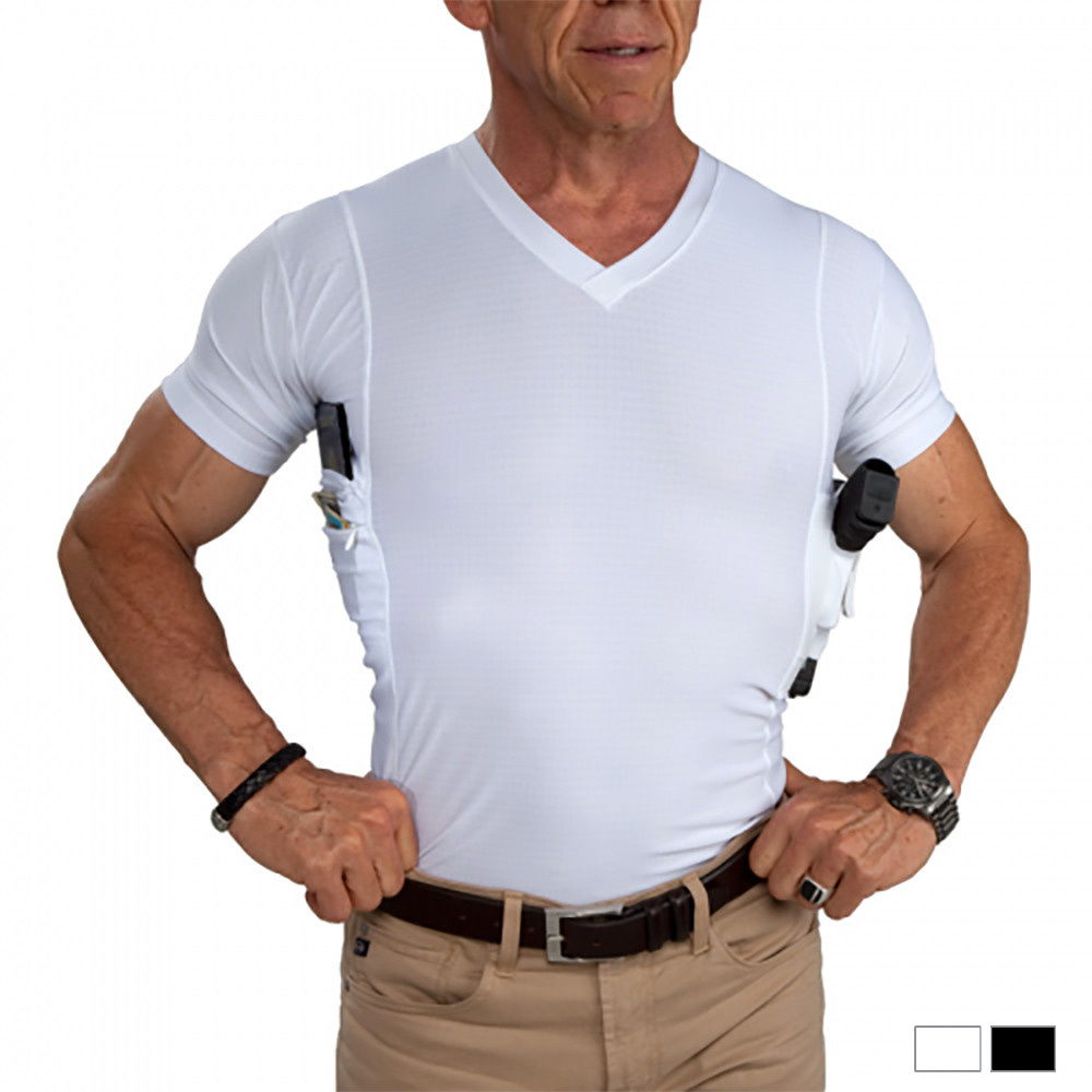 UnderTech Undercover Men/'s Concealed Carry Coolux Mesh V-Neck Tee 4032